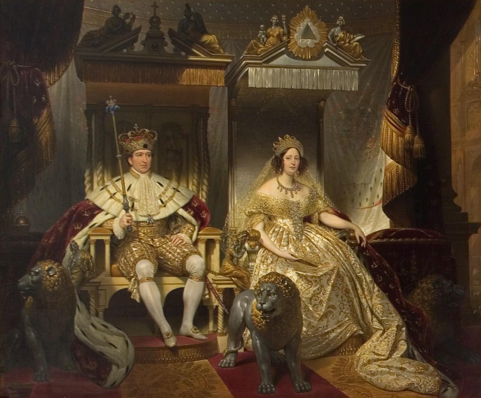 Christian 8. og dronning Caroline Amalie