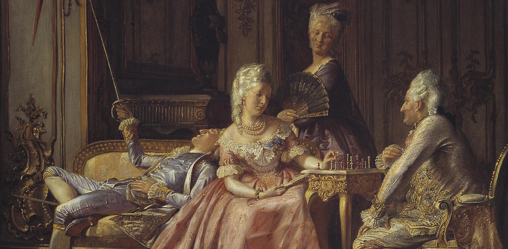 Caroline Mathilde with her husband Christian 7. and the lover Struensee. Painter: Kristian Zartmann. Photo: Den Hirschsprungske Samling