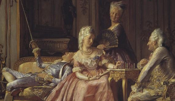 Caroline Mathilde sammen med sin ægtemand Christian 7. og elskeren Struensee. Maler: Kristian Zartmann. Foto: Den Hirschsprungske Samling