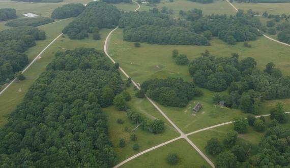 Jagtlandskabet i Dyrehaven, luftfoto. Foto: Anne Meisner, Styrelsen for Slotte og Kulturejendomme
